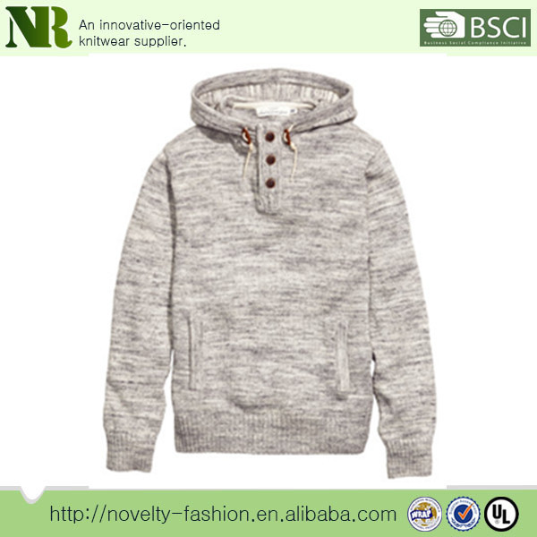 100%cotton Men's Knit Pullover Sweater With Drawstring Hood And ...