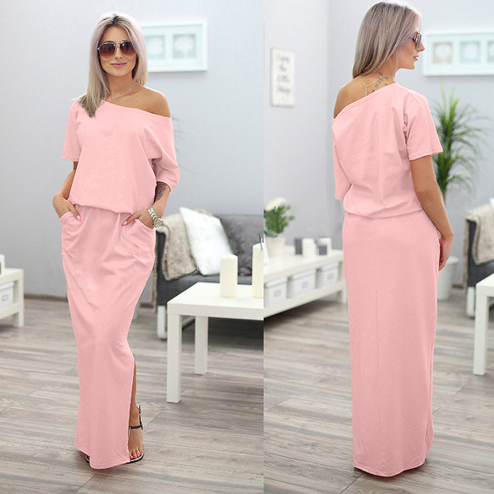 2017 New Sexy Summer Women Boho Maxi Dress Short Sleeve Side Slit Loose Evening Party Long Beach Dress with Pocket Vestidos