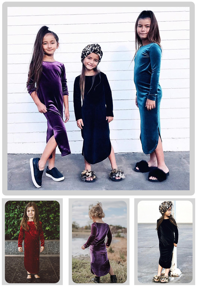 Spring autumn gold velvet split long sleeve solid color party baby girls dress