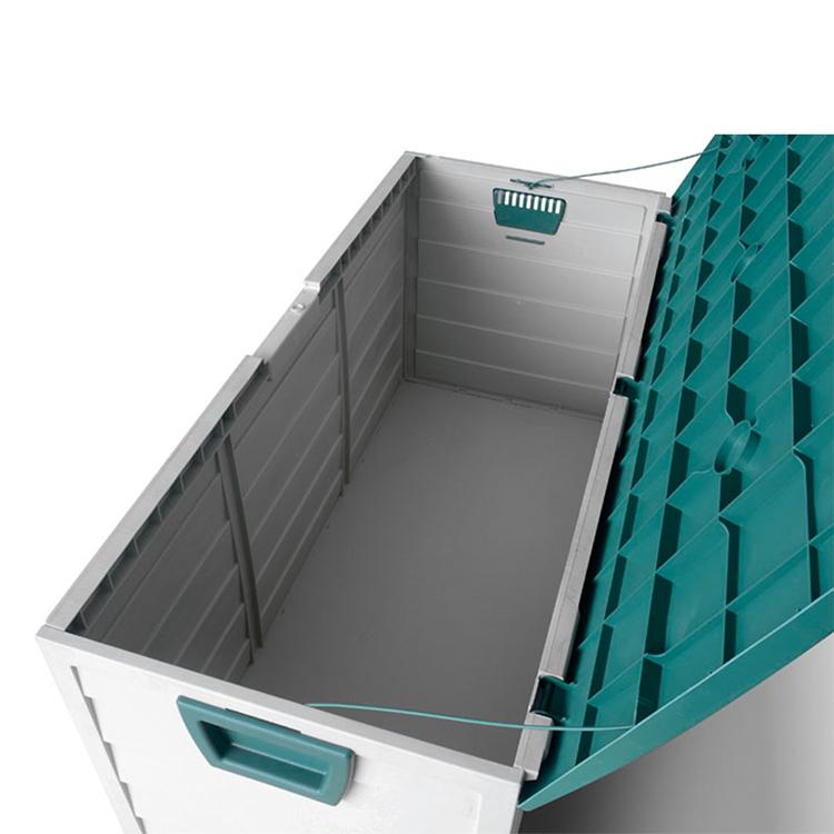 Europäische heißer Verkauf und hohe Qualität niedriger MOQ Kunststoff Outdoor Garten Aufbewahrungsbox mit Rädern