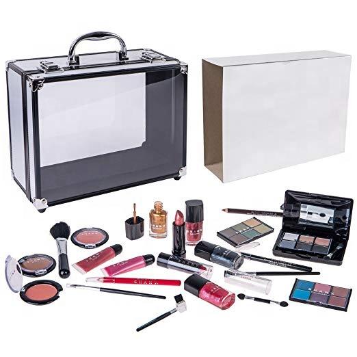 Professional Complete Aluminum Makeup Kit Beauty Cosmetic Gift Box Make Up Vanity Set