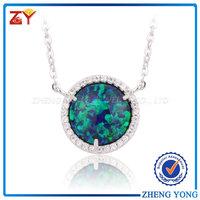 Round silver beads jewelry/Fashion Opal Jewellery/CZ cystal inlay opal jewelry