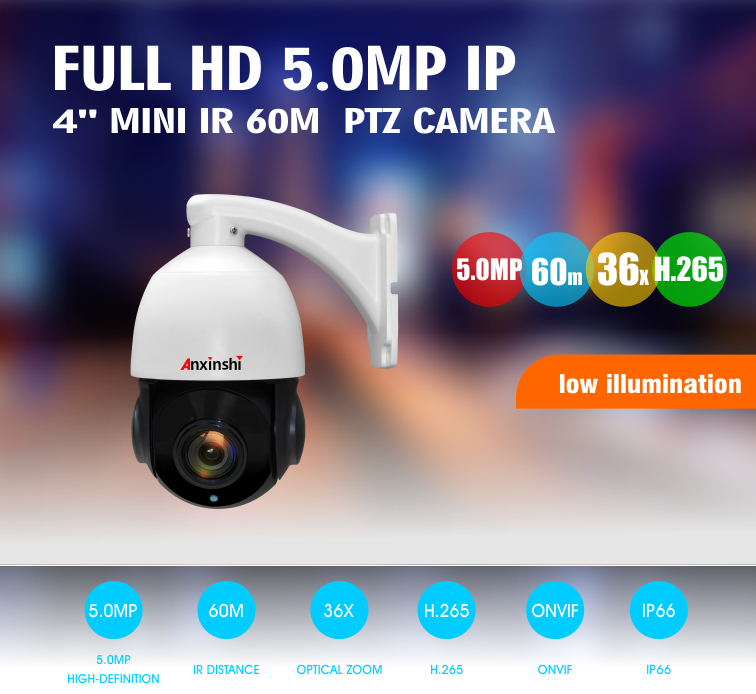 5Mpixels 4 inch mini  Full Color Super starlight  IR 60M  Auto tracking PTZ camera security camera set