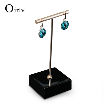 Oirlv China Factory Wooden Stand Jewelry Display Rack Metal T Bar Earrings Holder For