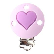 Keep & grow 10 шт./лот, круглый зажим для соски в форме сердца, силиконовый держатель для прорезывания зубов, зажим для соски, застежки, игрушка, сде...(Китай)