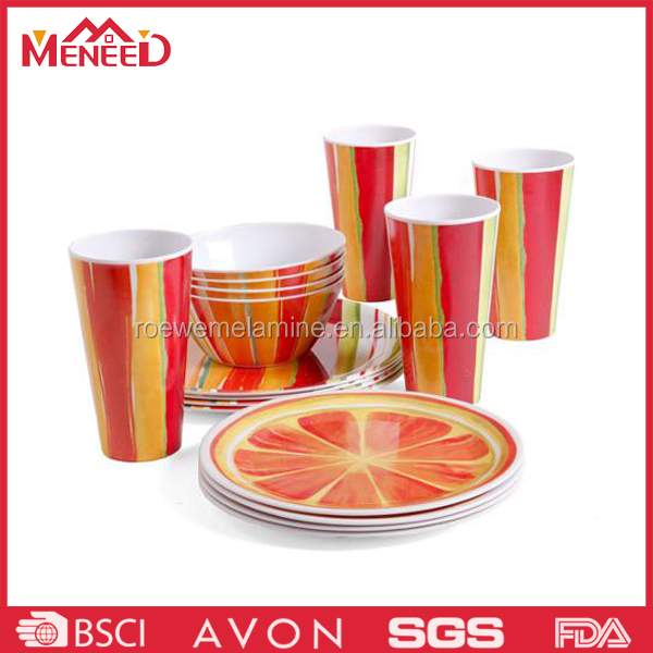 Family use cup bowl plate table ware, orange decal melamine round dinner ware set