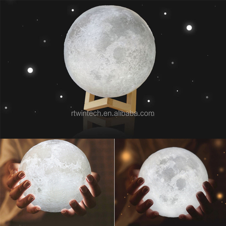 Woody customzied romantic moonlight 3D printing moon lamp