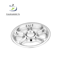 High Quality Stainless Steel Six Grid Round Multi Compartment Divided Fast Food Dinner Plates For Restaurant And School