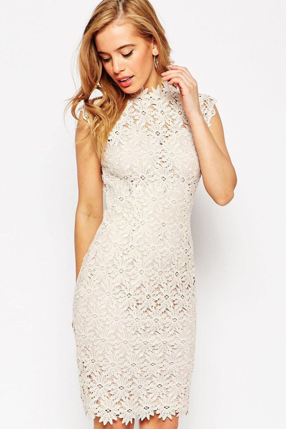 20ac2e0451 Get Quotations · Women Dress 2015 Sexy Dresses Vestido Casual White Lace  Applique High Neck Midi Dress Zip Bodycon