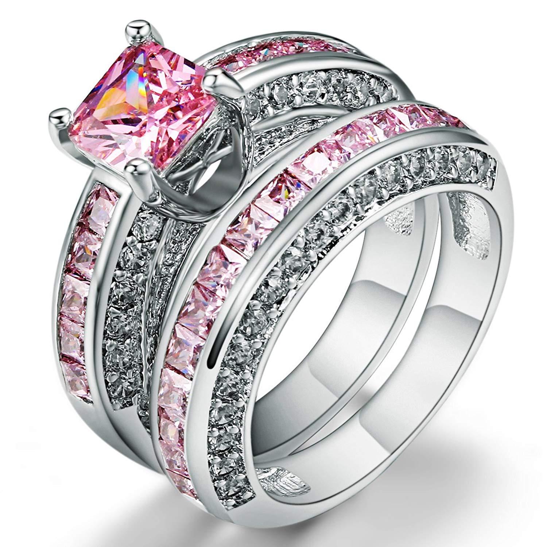 F/&T JEWEL Oval Cut Purple Zircon Jewelry Silver Color Ring For Women Party Wedding Rings