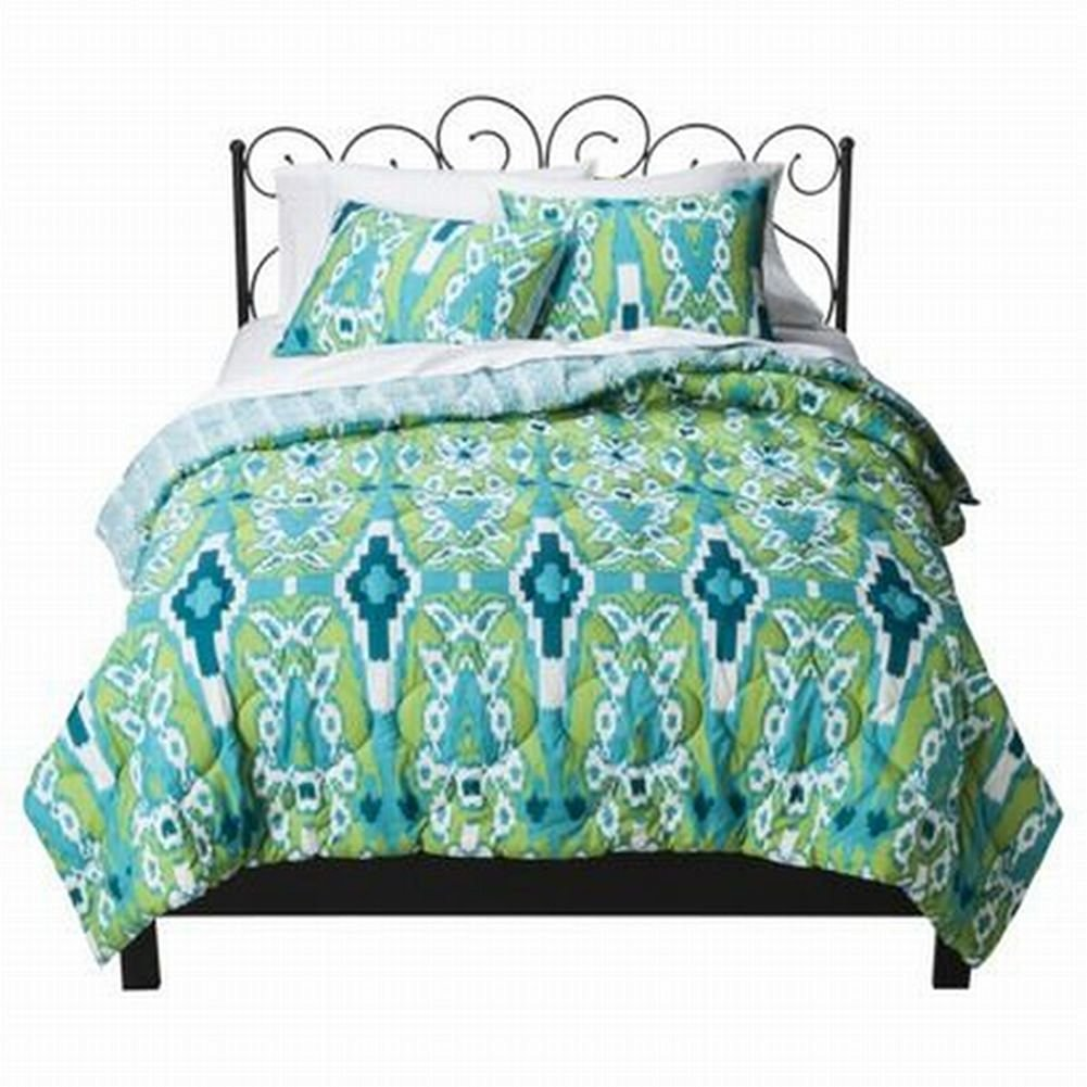 Xhilaration Twin XL Blue and Green Ikat Comforter & Sham Set Reversible
