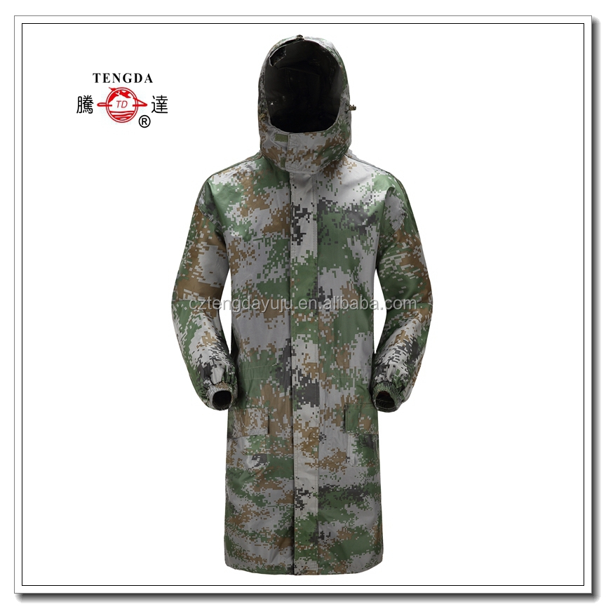 oem waterproof military camouflage portable pvc long rain jacket