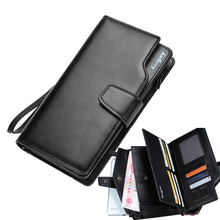 Design black genuine leather wallet men wallets long zipper dollar price purse women clutch carteira masculina porte monnaie
