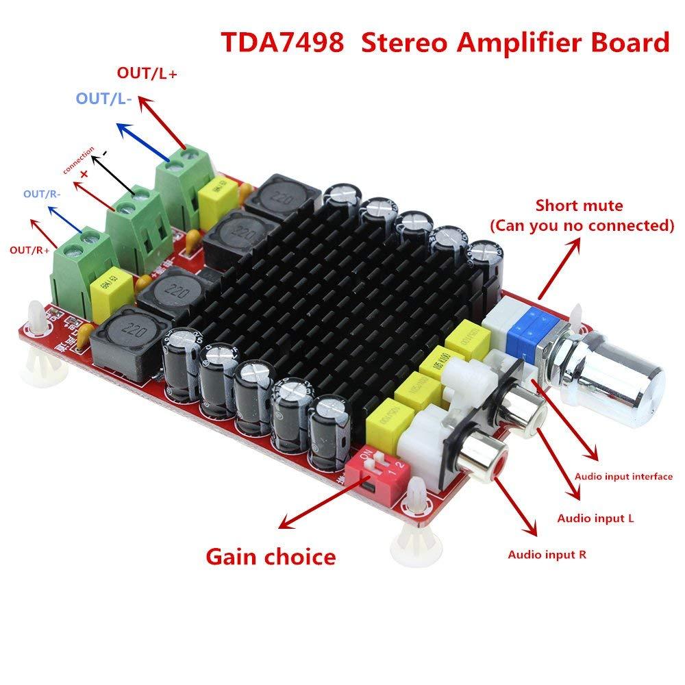 Leyal TDA7498 DC 14-34V Amplifier Board of Class D 2X100W Dual Channel Audio Stereo Amplifier Board XH-M510