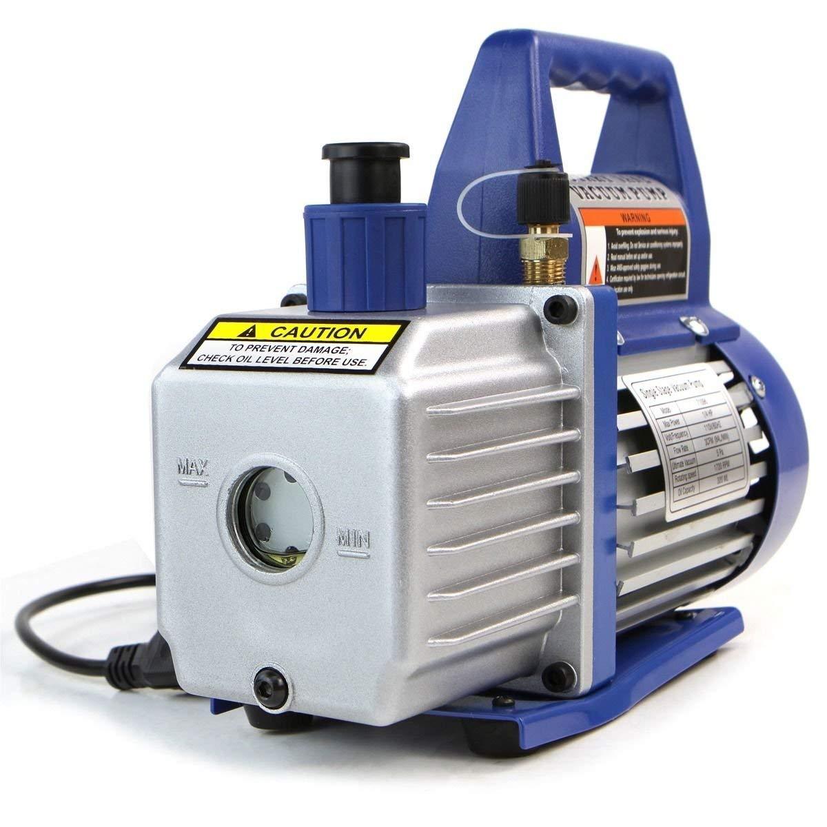 Single-Stage 3CFM Rotary Vane Deep Vacuum Pump 1/4HP HVAC AC Air tool R410a R134 By Sunbizpro