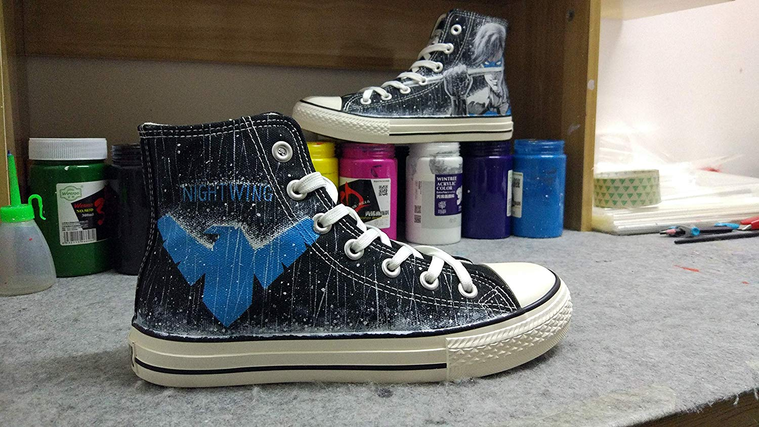 11507722c7 Get Quotations · Custom Shoes Nightwing Shoes Black Canvas Sneakers Shoes  Men Women Shoes Hand Painted Shoes Free Shipping