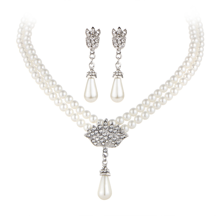 Graceful Imitation Rhodium Plated Double Strands Artificial Pearl Beads Chain Crystal Paved Peacock Bridal Pearl Jewellery Set