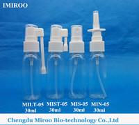 30ml, 1 OZ Clear Medical Throat Spray Bottle with white Throat Acuator