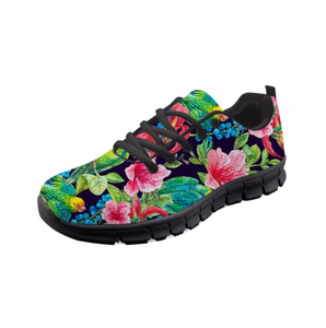 Tropical plants Pattern Casual Lace Up Sneakers High Quality Women Fashion Breathable Cute Bird Mesh Girl Flat Shoes
