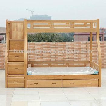 Solid Beech Wood Kids Bunk Bed Simple Mother Children Bedroom Furniture