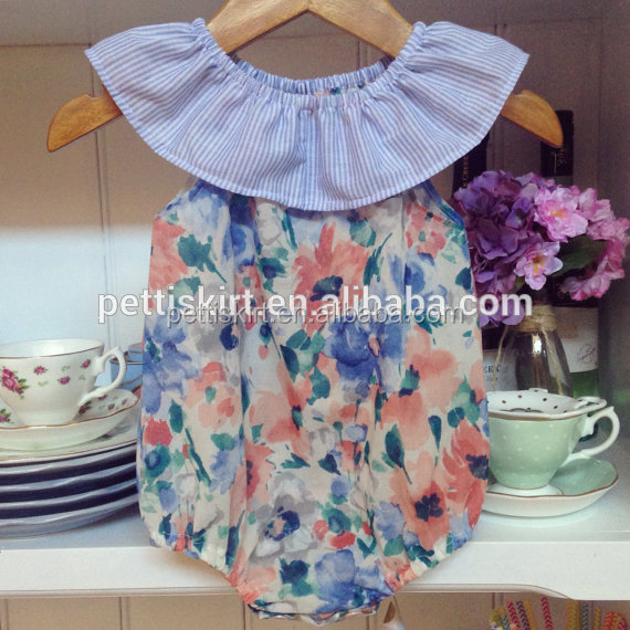 Wholesale children's boutique floral playsuit baby girl ruffle neck striped romper