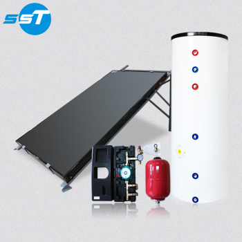 Flat plate solar collector with separate water tank for family
