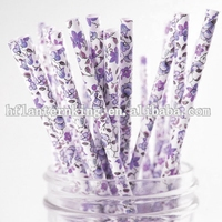 Beautiful Lilac paper straws decoration for wedding party favor wholesale