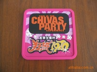 party gift embossed words square shape embossing soft pvc coaster
