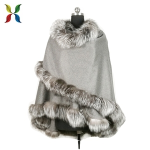 cashmere scarf shawl poncho for winter with fur collar