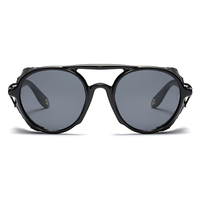 steampunk men sunglasses with side shields 2019 summer style leather round sun glasses for women retro uv400