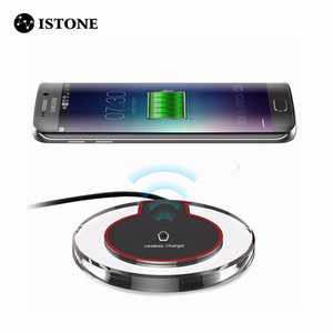 Original round crystal clear hot fast led light portable universal pad qi wireless charging station for iphone