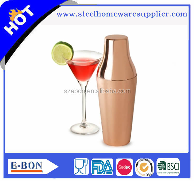 FDA approved Stainless steel copper plated 700ml French cocktail shaker
