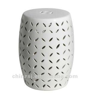 Modern White Lattice Ceramic Garden Stool 18h Wrynq19