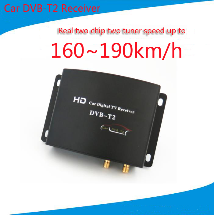 Mobile Car DVB-T2 Digital TV Receiver Real Two Chip Two Antenna Speed Up To 160-190km/h DVB T2 Car TV Tuner MPEG4 SD/HD 1080P