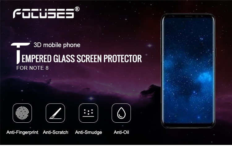 9H 3D full covered tempered glass screen protector for Note8