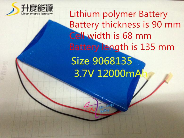 Размер 9068135 3.7 В 12000 мАч литий-полимерный аккумулятор с советом по защите для планшет шт бесплатная доставка