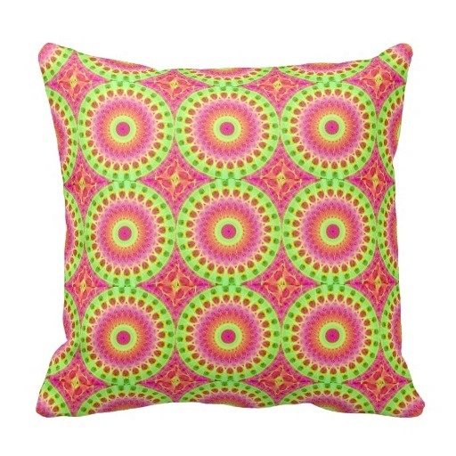 Trendy Neon Fractal Hippie Art Throw Pillow Case (Size: 20