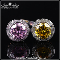 Elegant and fashionable women zircon silver rings with colored gemstones