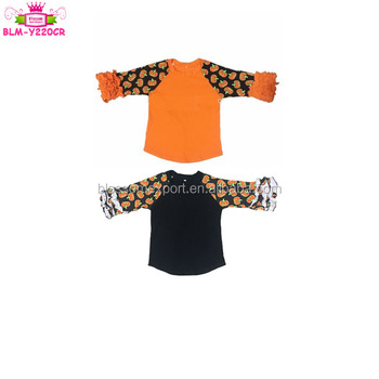 74d4f4ab Funny Girl Shirt Orange Black Raglan 3/4 Ruffle Sleeve Toddler Children  Icing Raglan Pumpkin