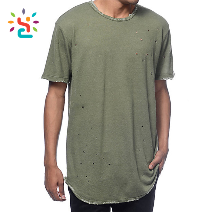 Fashion clothing latest new distressed t-shirt curved hem for men summer swag t shirts xxxl classic high quality brand t-shirt