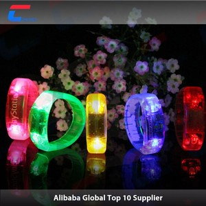 Light up silicone flashing cheap smart silicone wristband, radio controlled led wristband