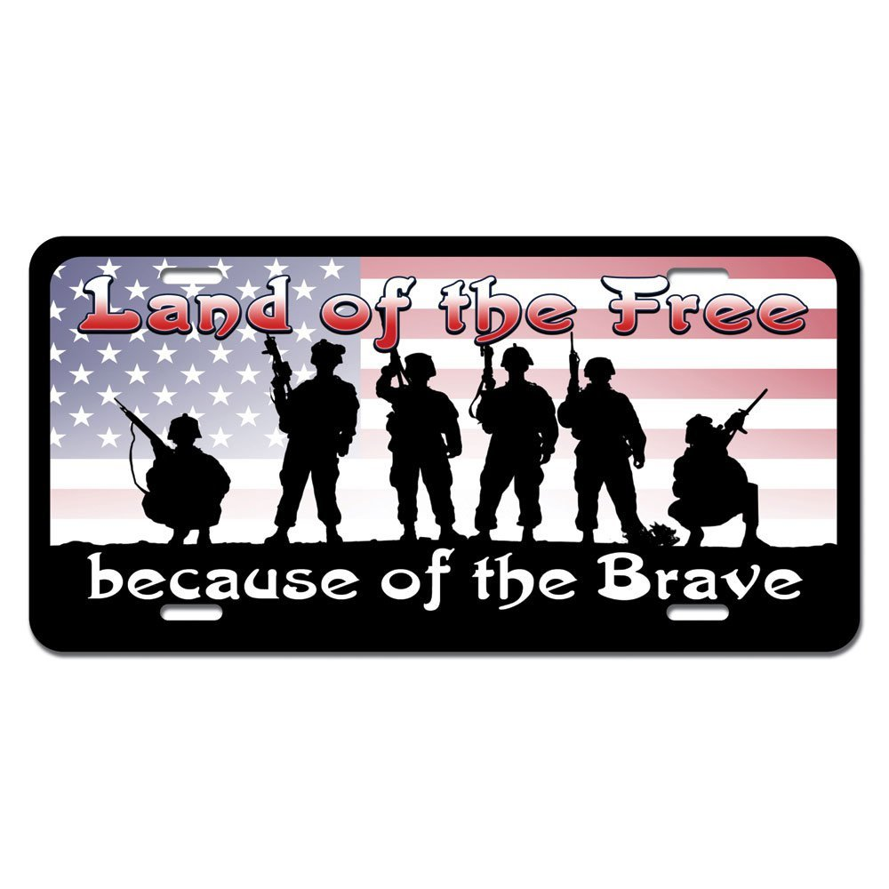Land of the Free because of the Brave - Patriotic America USA Novelty Metal Vanity License Tag Plate