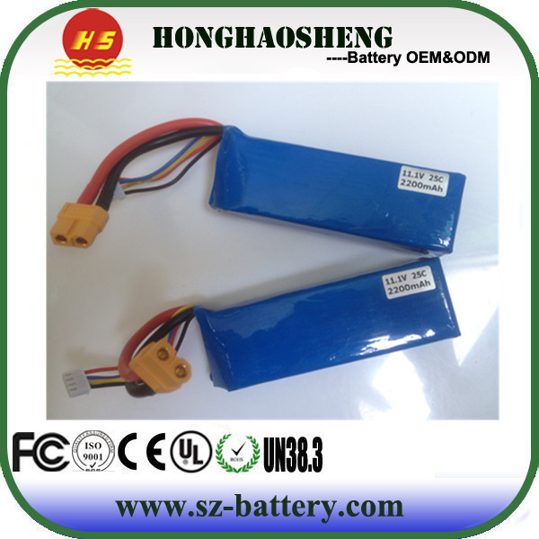 High rate 11.1V lipo 3s battery size customized 25C discharge 2200mah