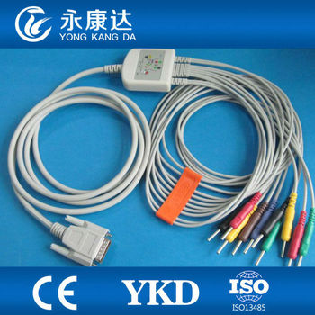 One-piece 10/12 leads EKG cable with Din3.0 4.7K resistance for Nihon Kohden 9130 /Biocare/DongJiang CE&ISO13485