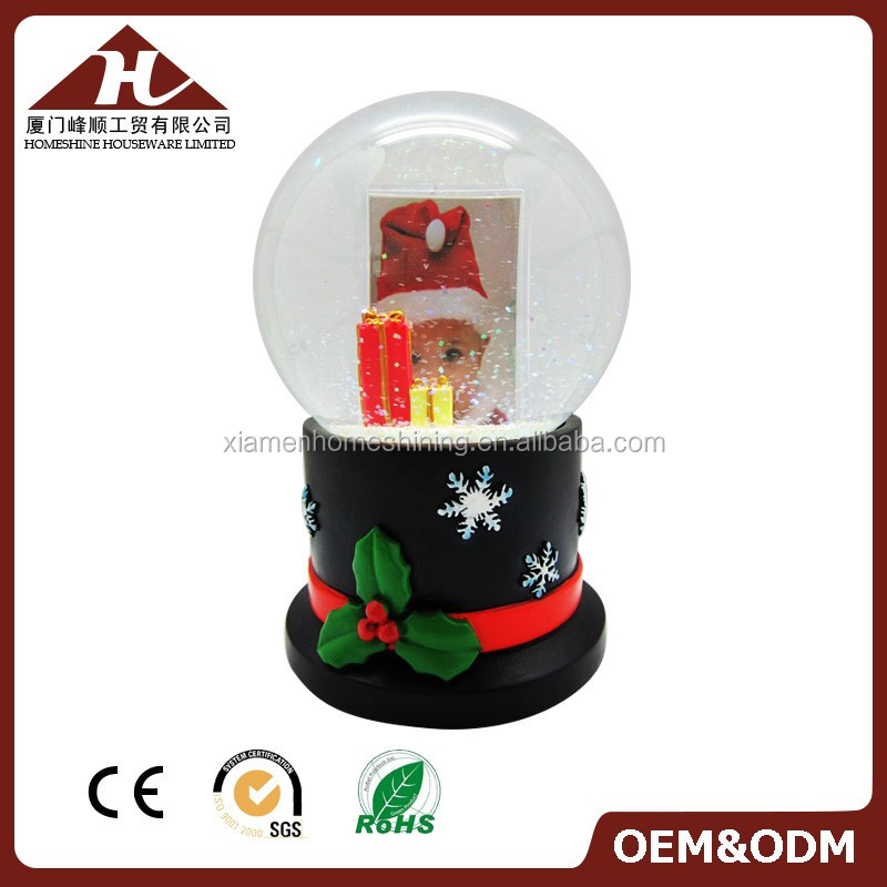 Christmas snow globe with photo frame insert