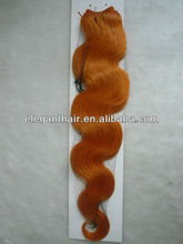 wholesale price grade 5A top quality orange color human hair weft