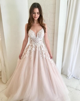Beach Wedding Dress Embroidered Lace Wedding Gown With Blush Pink Tulle Skirt V Neck Bridal Maxi Dress 2019 New Robe De Mariage Buy Plus Size
