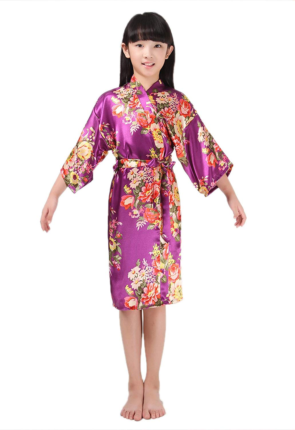 43356d69319 Get Quotations · EPLAZA Girls Children Satin Robe Bridesmaid Dressing Gown  Children Bathrobe Peacock Sleepwear