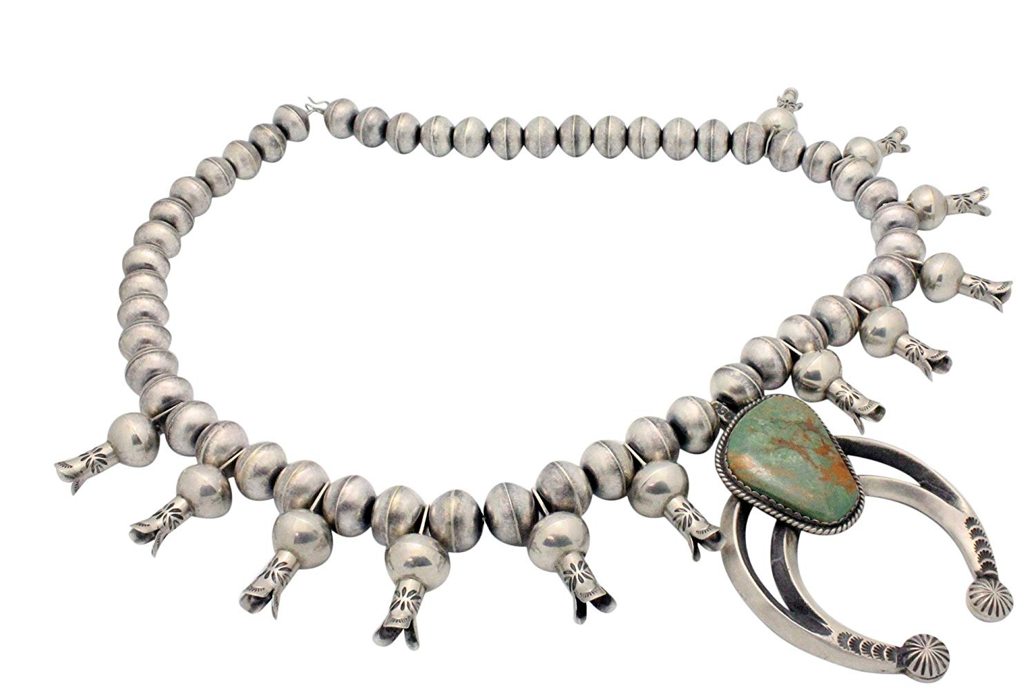 Daughter of the Water Chunky Metalwork Cabochon Squash Blossom Turquoise Stone Cuff Bracelet