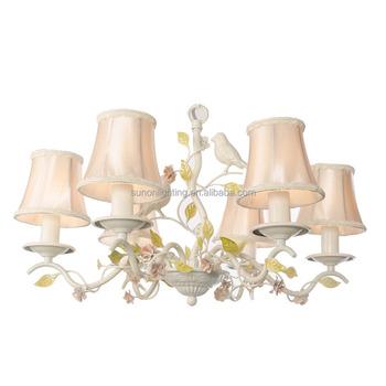 Russia Home Decor Ceramic Birds Flower Iron Chandelier Lighting For Dinning Room